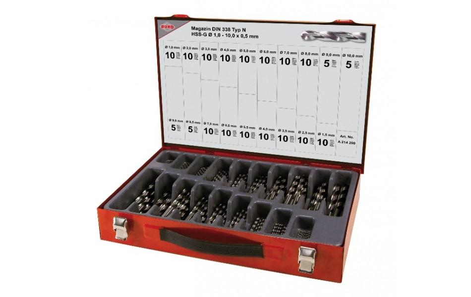 Grąžtų met.rink. DIN338 HSS-G 1.0-10.0 x0.5mm (170 vnt.)  RUKO (214200)
