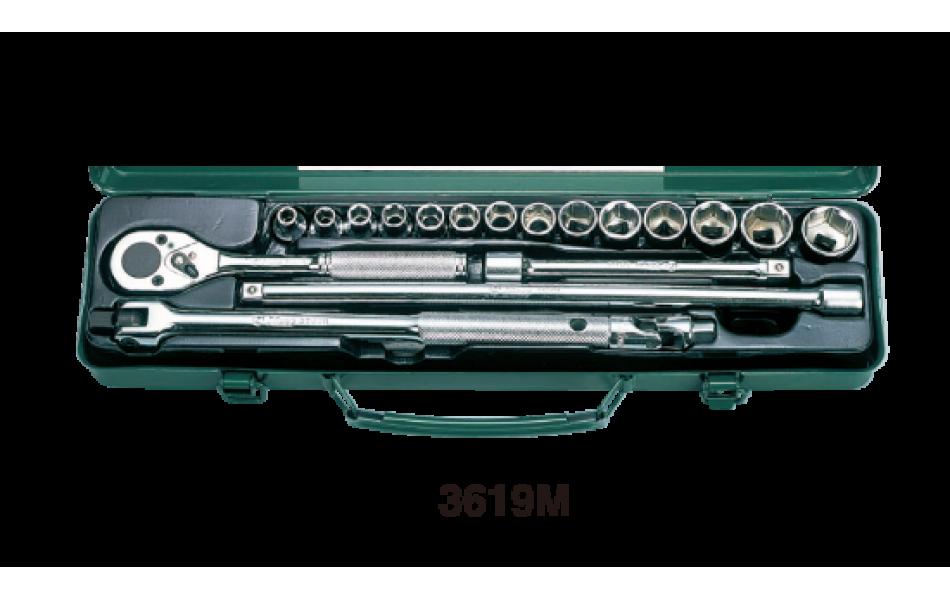Įrankių kompl. 3/8`` (19vnt) HANS (3619M)