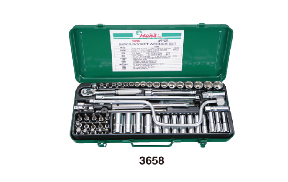Įrankių kompl. 3/8`` (58vnt) HANS (3658)