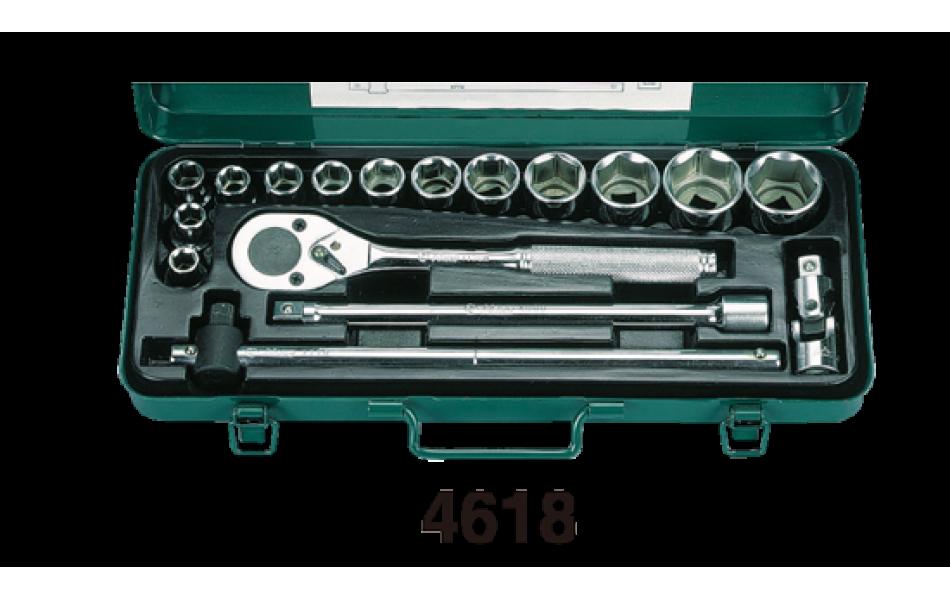 Įrankių kompl. 1/2` (12 kampų) (17vnt) HANS (4618-2M)